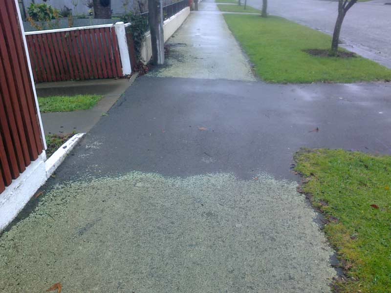 A clean driveway sprayed with Spik and Span